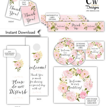 "INSTANT download. 8 Wedding Welcome Bag Labels and or Tags. Water Bottle Label, Thank You Tags, Door Hanger, Gable Box Label, 2.5"" sticker"
