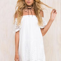 Casual White Off Shoulder Loose Mini Dress