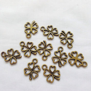 10 Four Leaves Clover Charms Antique Bronze Tone