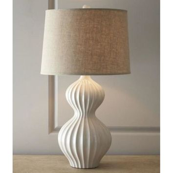 Gourd table lamp In white Hand Painted Ceramic with Fabric Shade