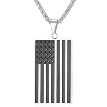 U7 American Flag Pendant Necklace