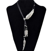 Vintage Faux Leather Rhinestone Leaf Sweater Chain Jewelry For Women - Silver