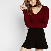 Plaited Marled Fitted V-Neck Sweater