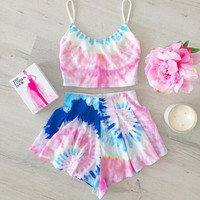 Floral Print Top and Short Two Piece Set