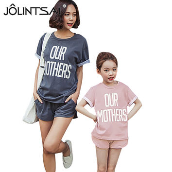 New Arrival 2017 Women Fashion Tracksuits Lady Clothing 2 Piece Set Casual Letter Printed Tops + Shorts Sets For Mother Day Gift