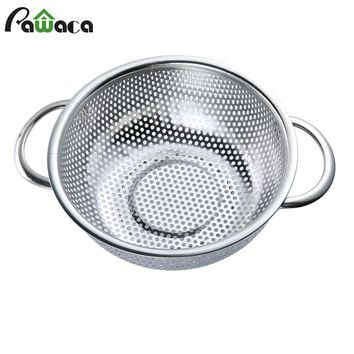 Stainless Steel Colander Strainer Mesh Basket Wash Rice Sieve Drain Vegetable Fruit Holder Organizer Sifter Kitchen Storage Tool