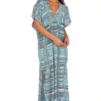 Goddis Alisha caftan dress in Grecian sky