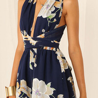 Multicolor Deep V Neck Floral Back Cross Tie Waist Playsuit