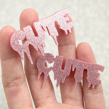50mm Spooky Cute Glitter Acrylic or Resin Cabochons - 4 pc set