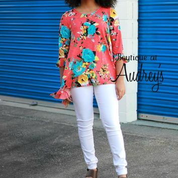 Bright Coral and Blue Floral Printed Asymmetrical Top with Ruffle Trim