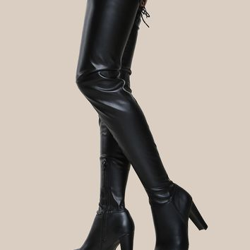 Round Toe Thigh High Boots BLACK