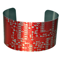 Red Circuit Board Image Aluminum Geekery Cuff