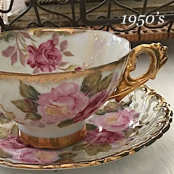 Reticulated Royal Sealy Tea Cup and Saucer, Japanese Teacup Set, Lustreware Antique Pink Rose China, Gifts for Her, Christmas, Gold Tea Cups
