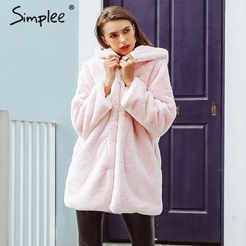 Simplee Elegant hooded faux Fur shaggy women winter warm coat Autumn plush pocket loose teddy coat Female plus size overcoat
