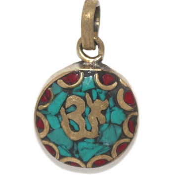 Yoga Om Turquoise coral Pendant