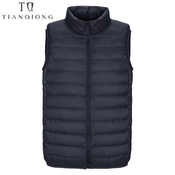 New Men's Sleeveless Ultralight 90% White Duck Down Warm Vest Men's Casual Vest Men's Warm Jacket Outwear Waistcoat