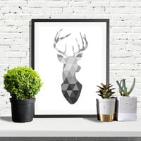 SAVE 50%, Scandinavian Print, Deer Head Print, Deer Poster, Geometric Art, Black And White Wall Art, Art Print, Scandinavian Style Decor