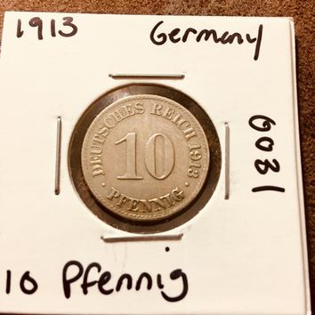 1913 German Empire 10 Pfennig Coin 0031