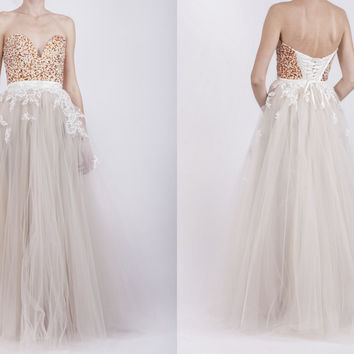 Ivory tulle dress with lace and corset