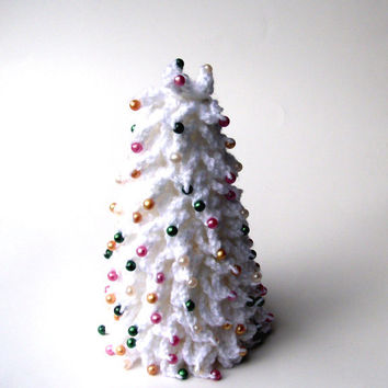 White Christmas Crochet Christmas Tree by krochetlady on Etsy