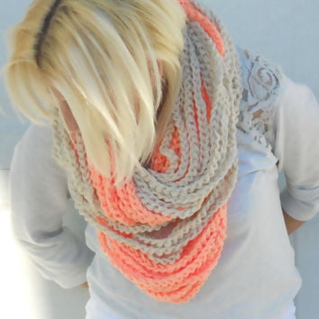 Peaches and cream chunky crocheted loop infinity scarf, cowl, chain necklace