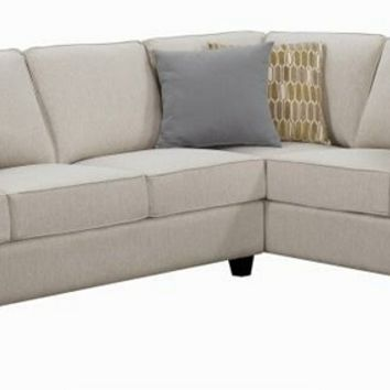 501000 2 pc Tyler II collection linen colored fabric upholstered transitional style sectional sofa