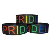 Gay Pride Wide Band Silicone Bracelet