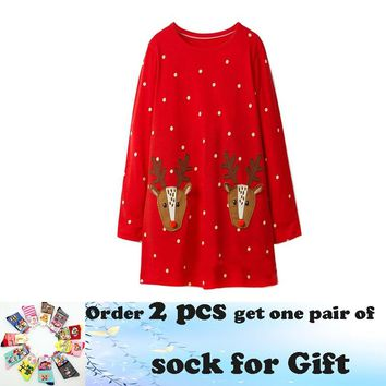 Jumping meters 18M-6T Children girls dresses applique deer kids dress long sleeve polka dot red dress gift Christmas dress girl