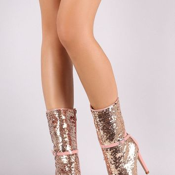 Sequin Round Toe Buckle Strap Stiletto Mid-Calf Boots