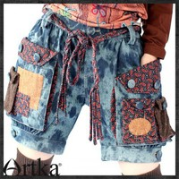Enjoyment Series---- Denim Shorts with Dyed Patchwork Pockets A09177 | Artka-Fashion - Clothing on ArtFire