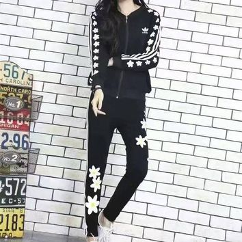 ONETOW Adidas' Fashion Casual Stripe Flower Print Long Sleeve Cardigan Cotton Sweater Set Two-Piece Sportswear