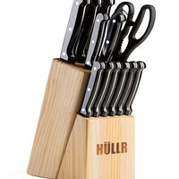 14 Piece Kitchen Knife Set with Wooden Block, Stainless Steel Chef Knife Bread Knife Slicing Knife Utility Knife Paring Knife Steak Knives Sharpening Rod and Scissors
