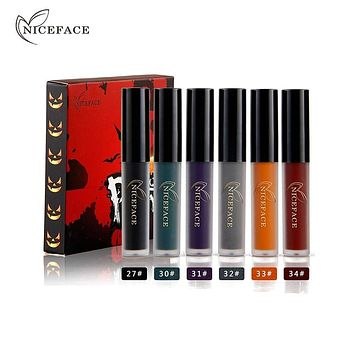 NICEFACE 6 colors/set Matte Makeup Lip Gloss Liquid Lipstick Nutritious Beauty Supply for Halloween Party Cosplay Lip Makeup Macchar Cosplay Catalogue