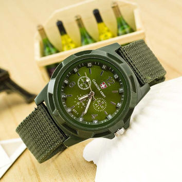 Military Canvas Strap Watch