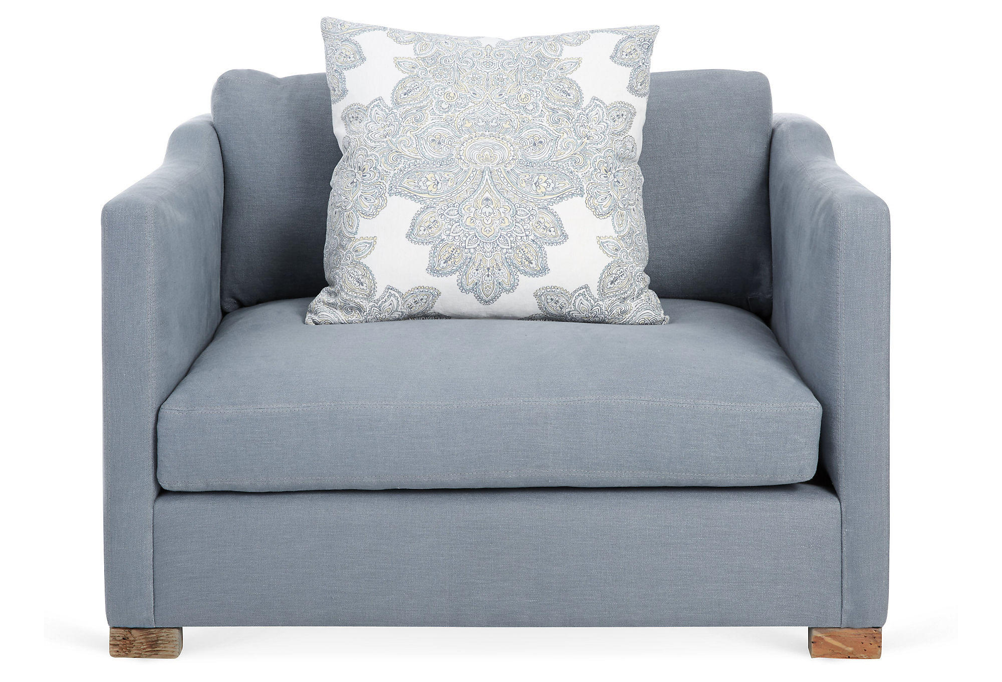 cara linen chair and a half dusty blue from one kings lane. Black Bedroom Furniture Sets. Home Design Ideas