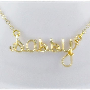 FREE SHIPPING!!!  Sassy Wire Word Pendant Necklace Gold Color