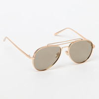 LA Hearts Gold Weighted Aviator Sunglasses at PacSun.com