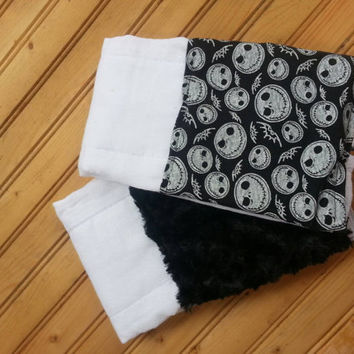 Nightmare before christmas jack skellington halloween baby burp cloth set
