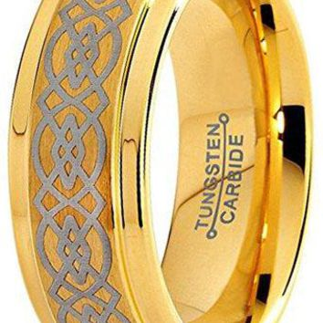 CERTIFIED 8mm Yellow Gold  Tungsten Wedding Band Ring Celtic Knot Step Beveled Edge