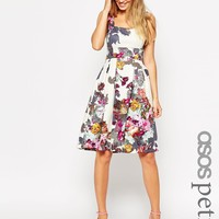 ASOS PETITE Cream Floral Debutante Midi Dress