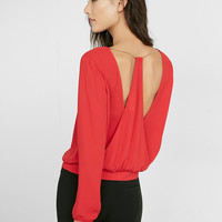 Open Back Chain Drape Blouse
