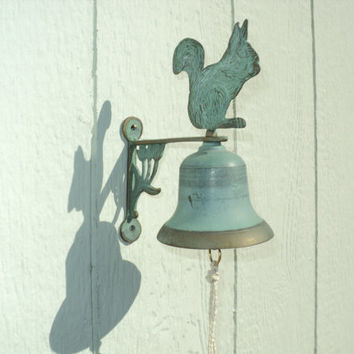 Copper Bell Outdoor Home Decor Green Patina Squirrel and Floral Design Cottage Chic Style Outdoor Doorbell