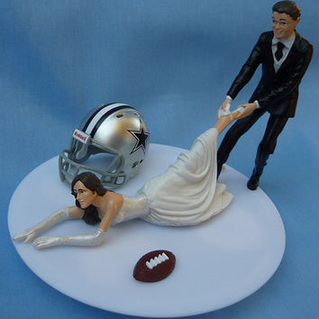 Wedding Cake Topper Dallas Cowboys G Football Themed w/ Garter Sports Fan Fun Bride and Groom Pulling Dragging His Hers Team Humorous Funny
