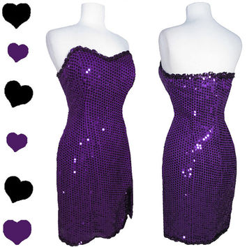 Dress Vintage 80s Purple SEQUIN Cocktail Party PROM Dance Dress L 50s Pinup BOMBSHELL