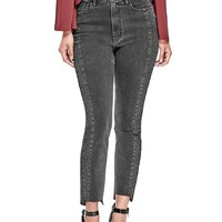 Adel Black Raw-Hem Straight Jeans at Guess
