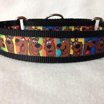 "Nylon w/Scooby Doo Ribbon Leash, Martingale or Quick Release Collar Ribbon Collar 1"" Martingale 1.5"" Martingale"