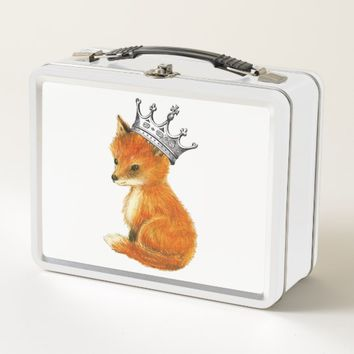 Baby Fox Vintage Crown Metal Lunch Box