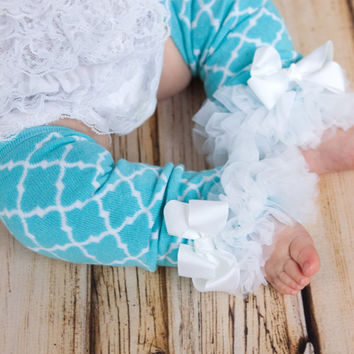 Aqua Quatrefoil Leg Warmers Baby Outfit leggings pants with tulle ruffles