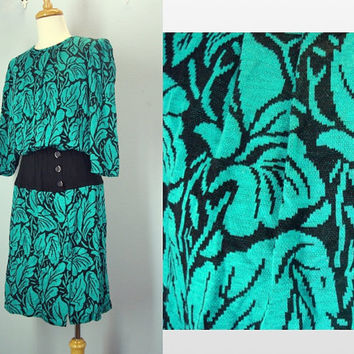 Vintage Sweater Dress / 80s Green Abstract Dress / Soft Knit Dress / Medium