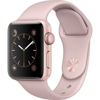 NEW Apple Watch Gen2 Ser1 38mm Rose Gold Aluminum Case Pink Sport Band MNNH2LL/A